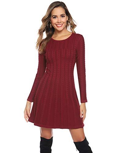Hawiton Damen Strickkleid Elegante Pulloverkleid mit Zopfmuster A-Linie Langärmeliges Kleid Strickpullover für Winter,Weinrot, S
