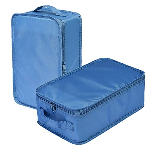 Travel Shoe Bags, Foldable Waterproof Shoe Puches Organizer-Double Layer (Sea Blue2)