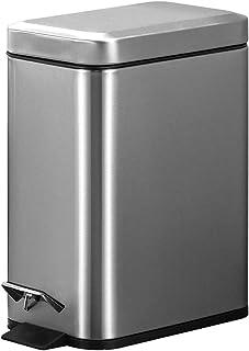 JANCANT 5L 5リットル オフィス ペタル式ゴミ箱 生ゴミ箱 おしゃれ 音無し ふた付き ダストボックス スリム キッチン 清潔便利 インナーバケツ付き  (シルバー)