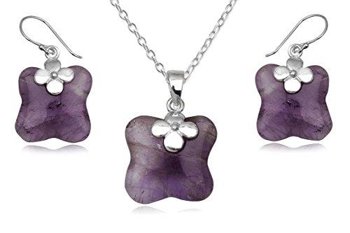 EYS JEWELRY® Damen-Schmuckset 50 cm Blume Blüte 24 x 16 mm Amethyst 925 Sterling Silber lila violett im Etui Damenschmuckset Halskette