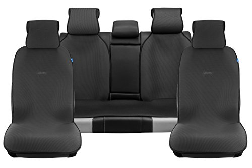 Sojoy Universal Four Seasons Full Set of Car Seat Cover and Cushions Honeycomb Cloth Black