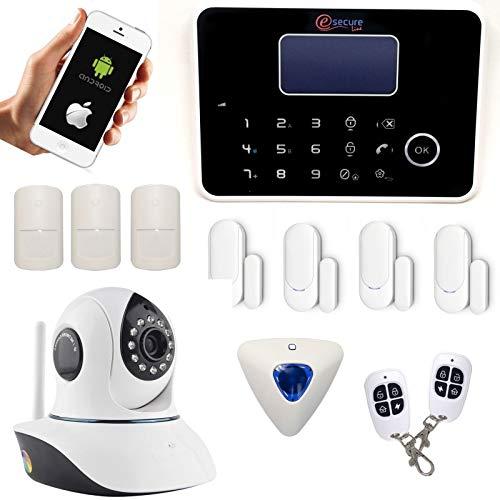 Alarmanlage Kabellos G6GSM und RTC mit Tastatur und Meerjungfrau Deportierten + IP Kamera Wifi drehbar–Haus T4