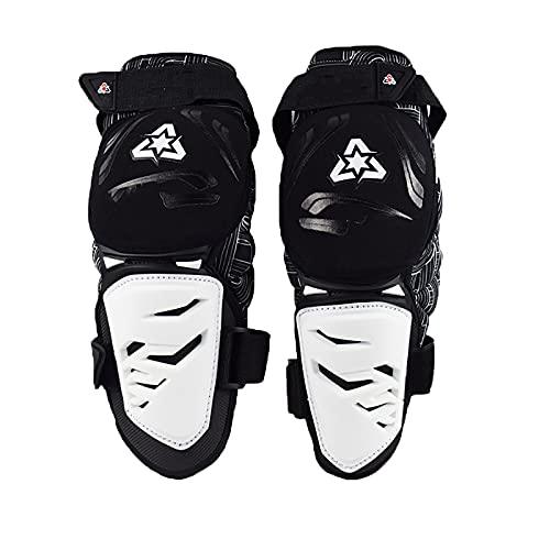 VOMI Niño & Adultos Rodilleras Enduro Blanco, Protección de Rodilla Motocross Protector Rodilla Espinillera Ajustable Respirable para Moto Motocicleta Ciclismo Bicicleta Monopatín