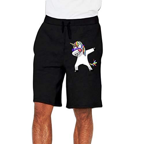 Dabbing Unicorn Men Sweatpants Jogger Shorts Trousers(XL,Black)