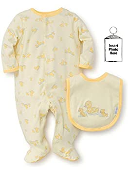 Little Me Baby Sleepers Yellow Ducks One-Piece Footie Pajamas for Boys or Girls with Bib and Keychain - Newborn