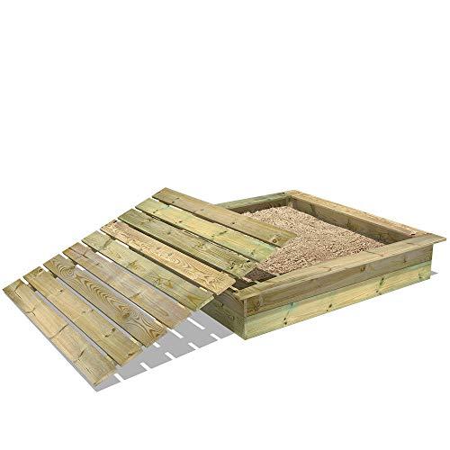WICKEY Bac à sable King Kong, Sablière en bois pour enfants 165x165 cm avec couvercle