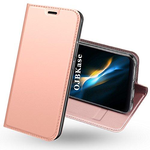 Funda Xiaomi Redmi 5 Plus,OJBKase Premium piel sintética Billetera Carcasa Protectora Cartera y Funda Cubierta interior TPU Protección De Cuerpo Completo Case para Xiaomi Redmi 5 Plus (Oro rosa)