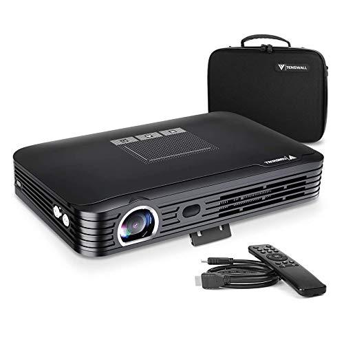 "Mini Beamer, Tenswall 1080P Projektor Tragbarer 3D Videoprojektor (Unterstützung 4K) Android6.0/Kontrast2000:1/ 600ANSI Lumens/300""Projektionsgröße/7800mAh Battery Kompatibel mit PS3 / PS4 / TV Box"