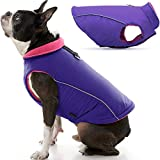 Gooby Sports Dog Vest - Purple, Medium - Fleece Lined Dog Jacket Coat with D Ring Leash - Reflective Vest Small Dog Sweater, Hook and Loop Closure - Dog Clothes for Small Dogs Indoor and Outdoor Use