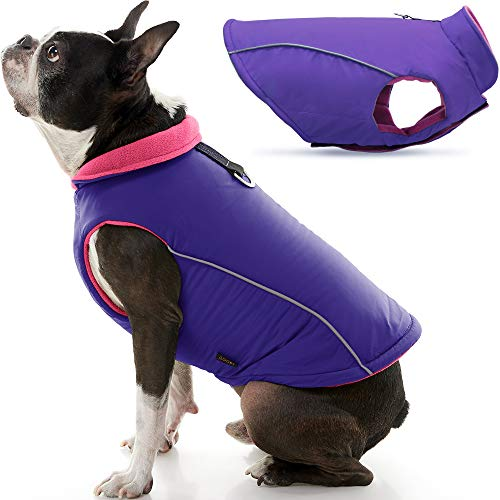 Gooby Sports Dog Vest - Purple, X-Large - Fleece Lined Dog Jacket Coat with D Ring Leash - Reflective Vest Small Dog Sweater, Hook and Loop Closure - Dog Clothes for Small Dogs Indoor and Outdoor Use