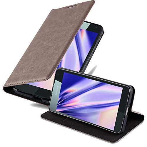 Cadorabo Hülle für Nokia Lumia 650 - Hülle in Kaffee BRAUN – Handyhülle mit Magnetverschluss, Standfunktion & Kartenfach - Case Cover Schutzhülle Etui Tasche Book Klapp Style