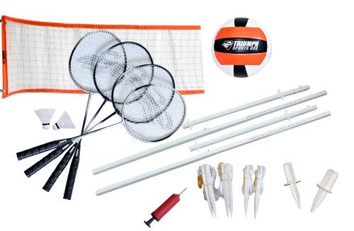 Triumph Advanced Volleyball/Badminton Combo Set Includes Official Size Volleyball, 4 Badminton Rackets, 2 Shuttlecocks, and Net