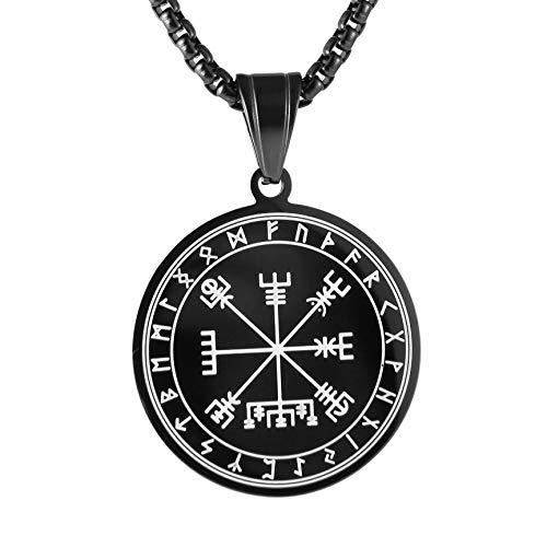 HZMAN Mens Norse Vikings Runes Amulet Pendant Celtic Pagan Stainless Steel Viking Talisman Necklace