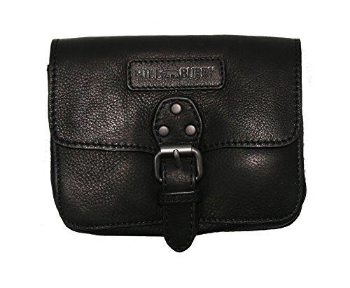 Hill Burry Leder Tasche Gürteltasche Männer Damen Ledertasche schwarz klein (black 3155)