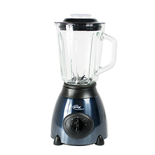 Elta Edelstahl Glas Standmixer (1,5 Liter, Glasgefäß, Smoothie-Maker, 500 Watt, 2 Stufen und Turbo Gang, schwarz/blau)