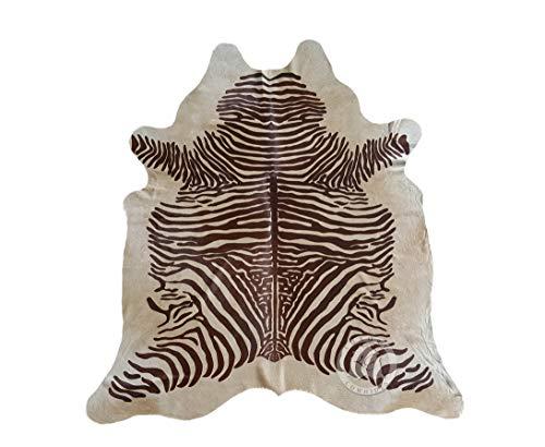 Alfombra de Piel de Vaca Estampado Cebra Marrón sobre Beige 210 x 180 cm - Pieles del Sol