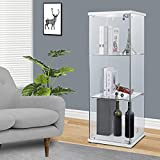 lafuria 3-Shelf Glass Curio Cabinet Square Tower Countertop Display Show Case 15.7' W x 15.7' D x 47.5' H with 2 Keys White