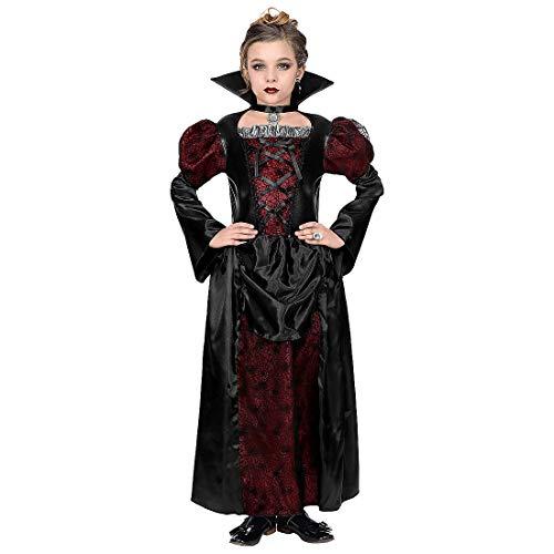 Amakando Extravagantes Kostüm für Mädchen Gräfin Dracula / Schwarz-Rot 140, 8 - 10 Jahre / Hexenkleid mit stehendem Vampir-Kragen böse Königin / EIN Highlight zu Kostümfest & Gruselparty