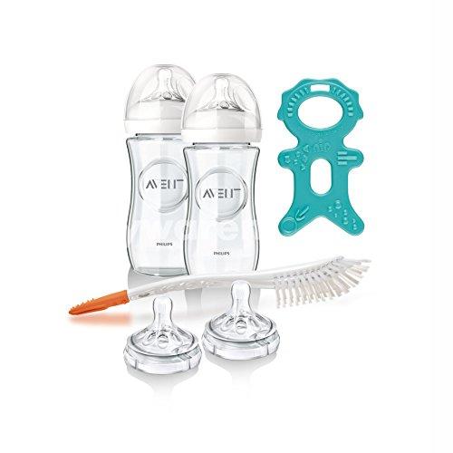 Philips Avent szklane butelki zestaw naturalny od urodzenia, 2 x 240 ml, w zestawie 4 przyssawki i szczotka