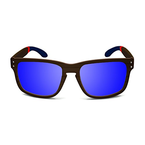 Paloalto Sunglasses Pacifica Gafas de Sol Unisex, Bamboo Brown/Blue/Red