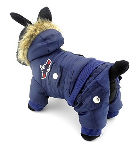 Zunea Padded Waterproof Small Dog Winter Jumpsuit Pet Puppy Jacket Coat Fleece Warm Snowsuit Airman Chihuahua Yorkie Outfits Clothes Apparel Blue XL