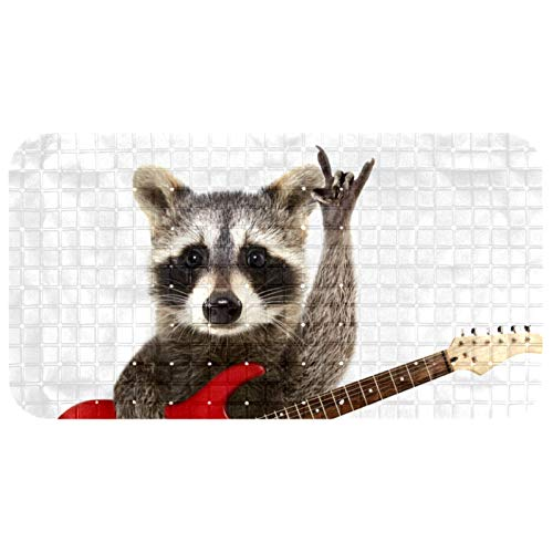 Lilibeely Bathtub Non-Slip Mat Baby Bath Tub Mat Anti-Slip with Suction Cups Funny Raccoon with Electric Guitar Bathroom Tubs Massage Shower Mat