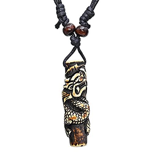 Collar Vintage Dragon Post Colgante Gargantilla Joyería Retro Estilo Tribal Imitación Yak Bone Collar Amuleto Regalo
