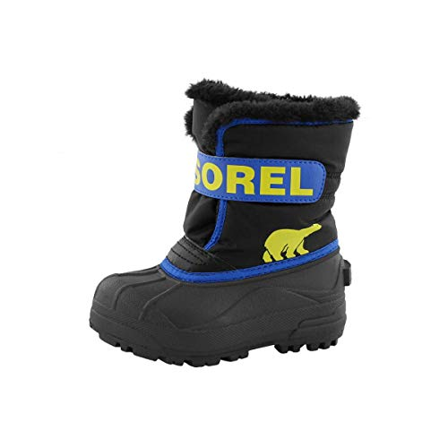 Sorel Children's Snow Commander Boot - Waterproof - Black, Super Blue - Size 11