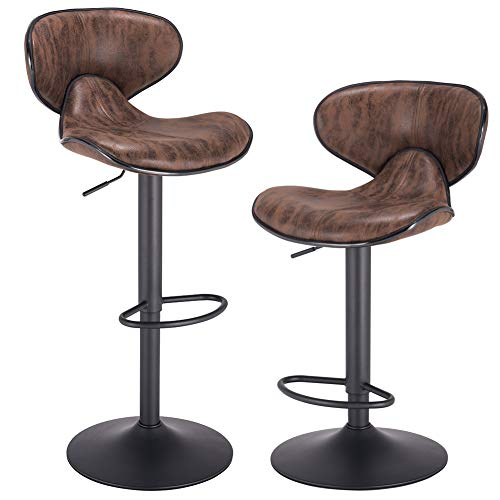 PRAISUN Adjustable Bar Stools Set of 2, Swivel Counter Chairs with Back, Barstool for Kitchen, Vintage Fabric Brown