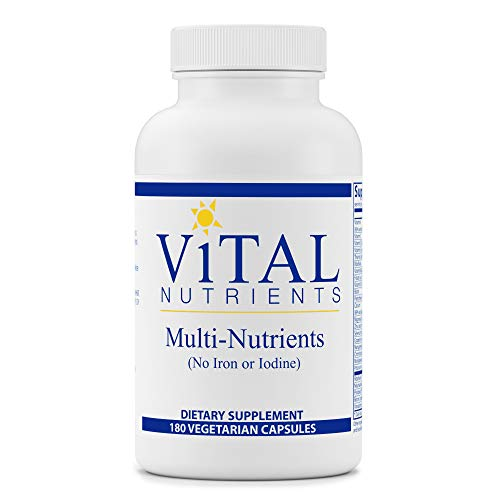 Vital Nutrients - Multi-Nutrients (No Iron or Iodine) - Comprehensive Daily Multi-Vitamin/Mineral Formula with Potent Antioxidants - 180 Vegetarian Capsules per Bottle