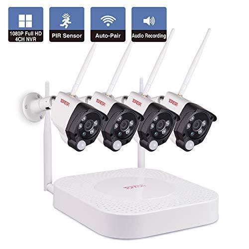 Tonton Full HD 1080P Wireless Audio 4CH NVR Überwachungssystem mit 4 Funkkamera, Plug& Play NVR System, PIR Bewegungsmelder, WLAN Kamera mit Audioübertragung Schnellzugriff über Smartphone und PC MAC