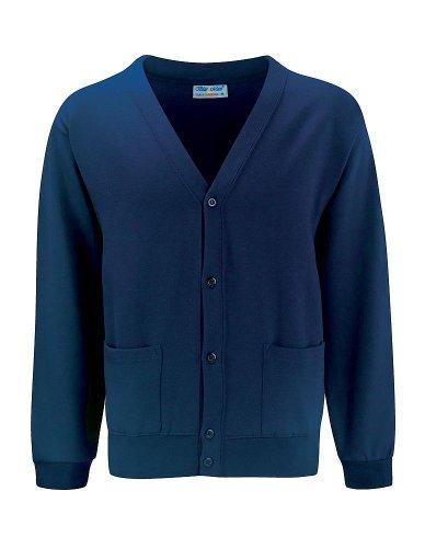 Bleu Max Adulte Winterwear Longues Manches Col En V Style Boutonné Pull Cardigan - unisexe adulte, Bleu marine, Medium