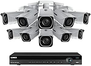 Lorex 16 channel NR9163 4K home security system with 10 8MP 4K LNB8111B Bullet Cameras - 4KHDIP1610