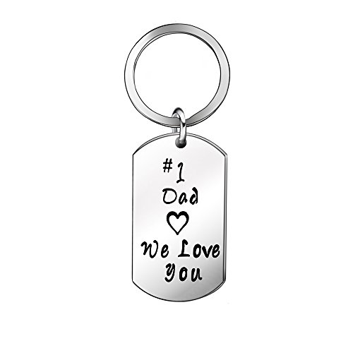 Father's Day Gifts - Dad Daddy Gifts from Daughter Son Keyring Key Ring, Stainless Steel (Dad)