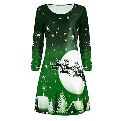 Long Sleeve Dress for Women's Christmas Print O-Neck T Shirt Dresses Casual Swing Dress Novelty Reindeer A-Line Dresses Green