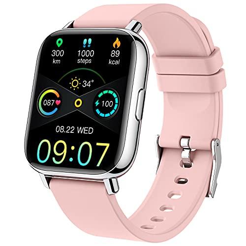 Smartwatch,1.69''RelojInteligenteMujerPulseraActividadInteligenteconPulsómetro/MonitordeSueño/Podómetro/Cronómetro,24ModosDeporte,ImpermeableIP68RelojDeportivoparaAndroidiOSRosa