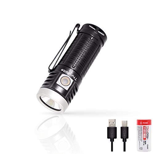 ThruNite T1 LED Taschenlampe 1500 Lumen USB Handlampe Aufladbar mit Magnet Superhell Mini Taschenlampe Wasserdicht mit 1100maH Akku für Outdoor - Kaltweiß