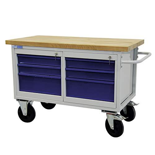 ADB mobile Werkbank Werktisch Werkstatt Rollwagen Tischwagen Werkstattwagen 6 Schubladen Werkstatteinrichtung Zubehör Werkstatt fahrbar mit Rollen