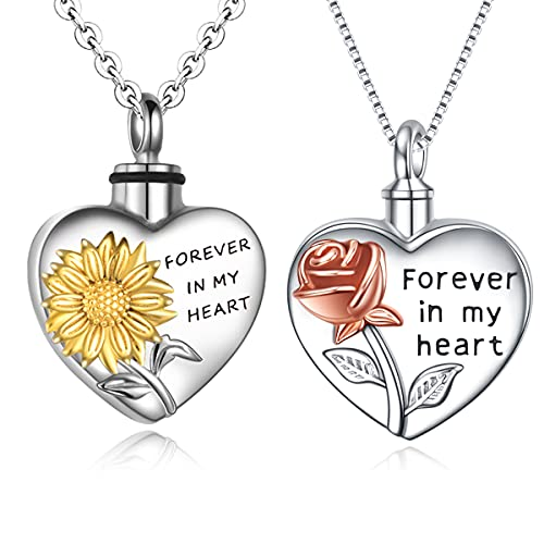 Rose Sunflower Flower Necklaces in Sterling Silver