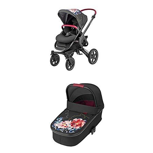 Maxi-Cosi Nova 4-Rad Kombi-Kinderwagen, komfortabel für Stadt und Land, digital flower + Oria Babywanne, für Maxi-Cosi Kinderwagen Buggy Nova, Stella, Adorra, Dana, digital flower
