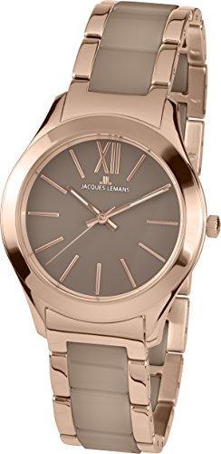 Jacques Lemans Damen Analog Quarz Uhr mit Edelstahl Armband 1-1796H