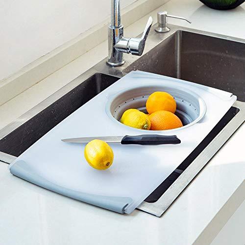 MondayUp - Tabla de cortar 2 en 1 sobre el fregadero, universal, innovadora y multifunción, tabla de cortar para fregadero, herramientas de cocina, 50 cm x 28,5 cm