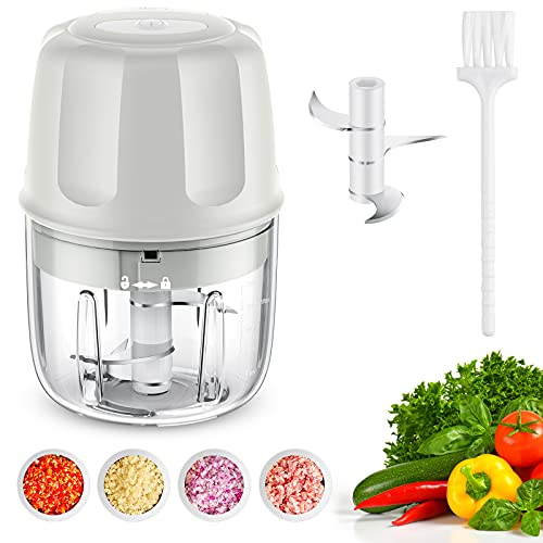 Electric Mini Garlic Chopper Mini food Chopper Electric Mini Chopper Seasoning & Spice Choppers for Garlic/Onions/Vegetables/Salad/Pepper - 250ML