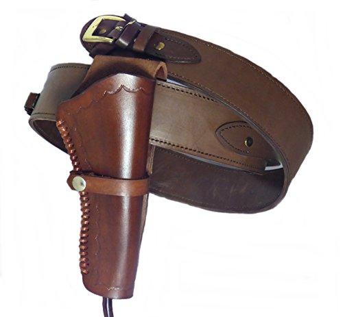 Gürtel + Holster Westernholster mit Patronenschlaufen Rindsleder braun (48)