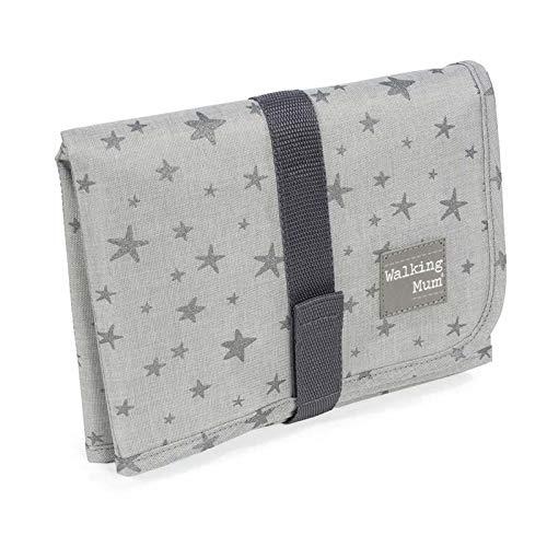 Walking Mum. Cambiador de Bebé Inspiration. Diseño funcional, portátil y plegable. Fácil de guardar en el bolso maternal. Color gris con estampado de estrellas. Medidas 33X66X1 cm.