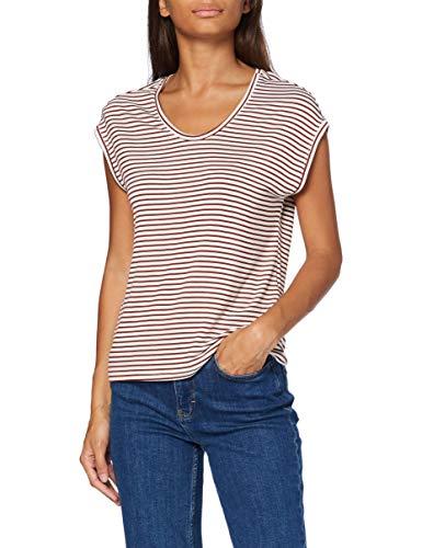ONLY Damen ONLWILMA S/S TOP JRS NOOS T-Shirt, (Stripes:CLOUD DANCER Burnt Henna), 38 (Herstellergröße: M)