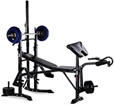 Olympic Weight Bench, Adjustable Weight Lift Bench Rack Set with Preacher, Curl Leg Developer, Squat Rack for Full-Body Workout Home Gym Weightlifting and Strength Training (C)