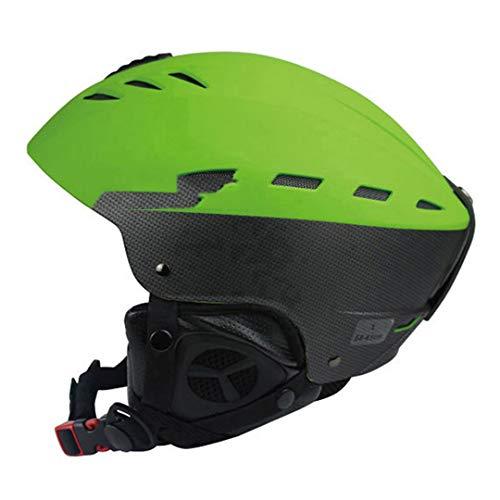 O-Mirechros Certification Casque de Ski d'hiver Sports de Plein air ABS + EPS Ski Snowboard Neige Planche à roulettes Casque Green L (58-61cm)