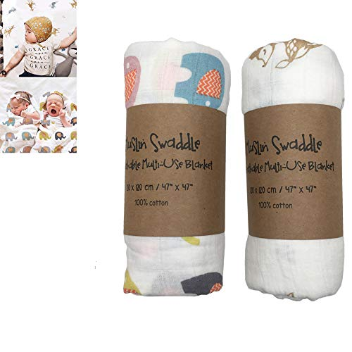 2 PCS Newborn Baby Muslin Swaddle Blankets Wraps for Baby Birthday Cotton Unisex Large 120 x 120cm (Elephant and Reindeer Print)