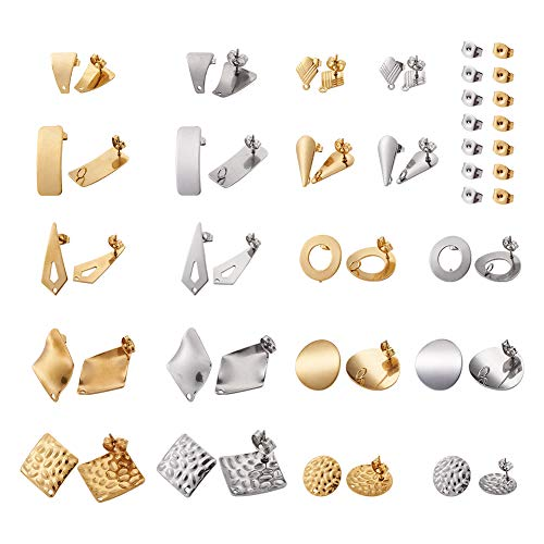 Cheriswely, 40 pezzi in acciaio inox per orecchini e orecchini con retro di sicurezza per creazione di gioielli.